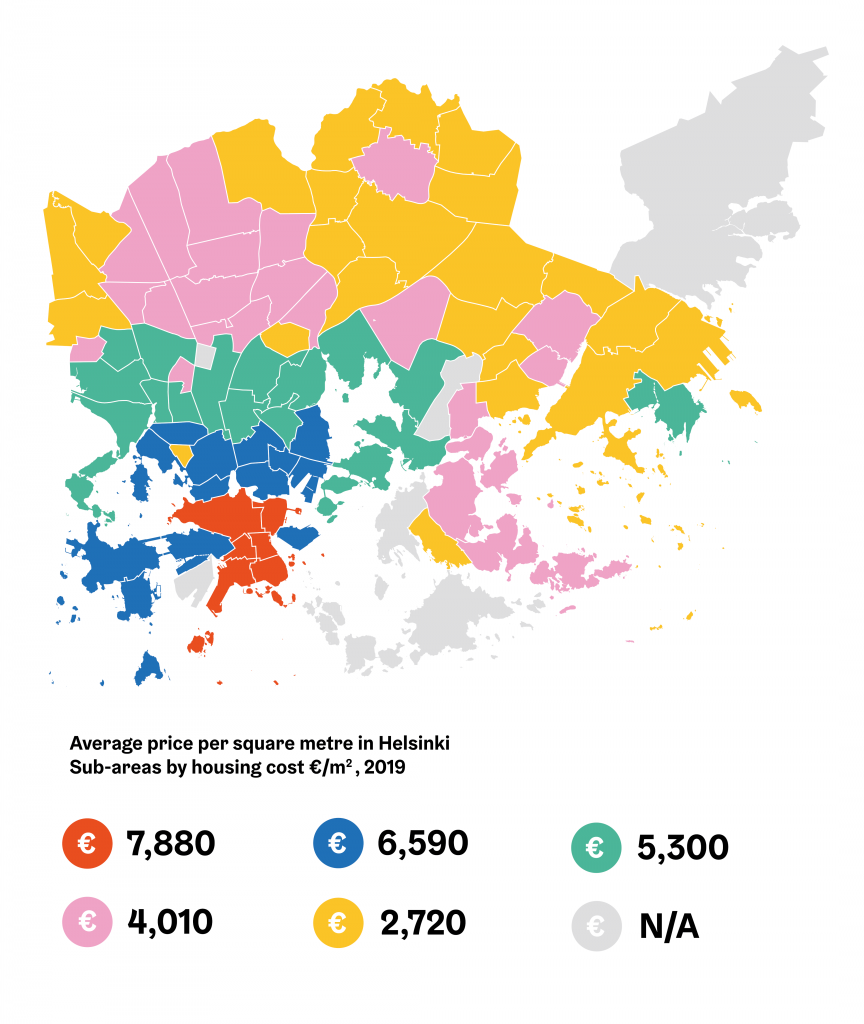 Map of average housing costs in different parts of Helsinki